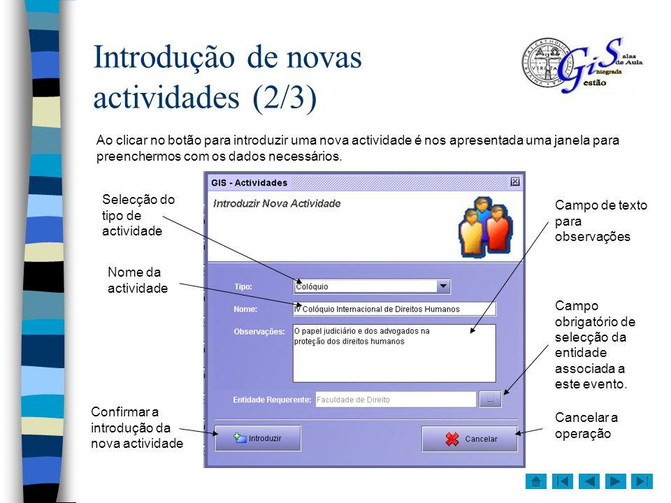 Introdução de novas actividades (2/3)