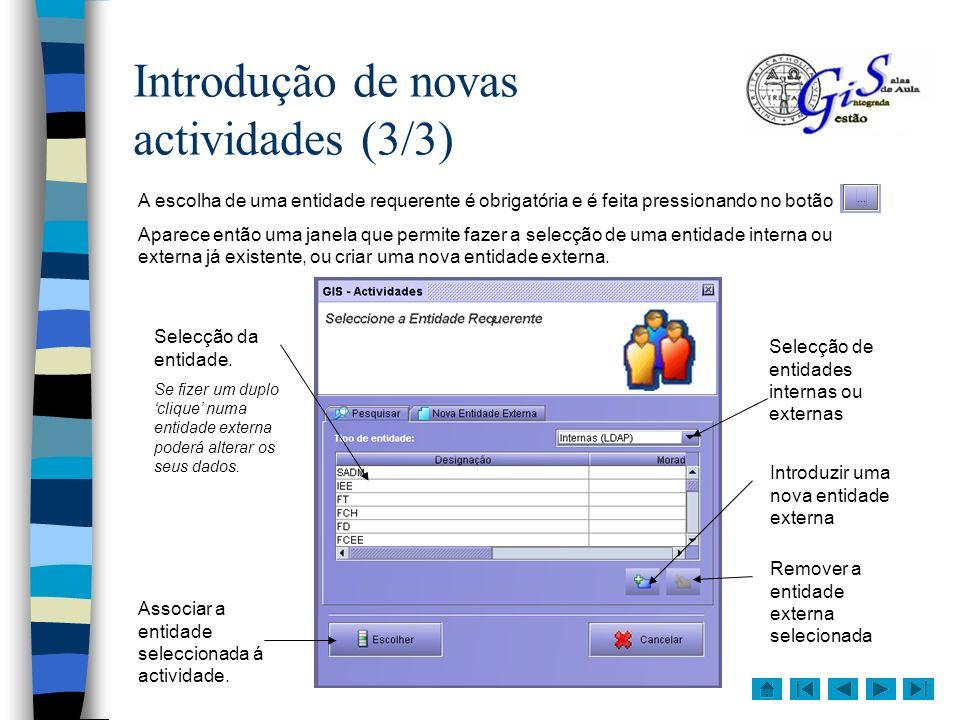 Introdução de novas actividades (3/3)