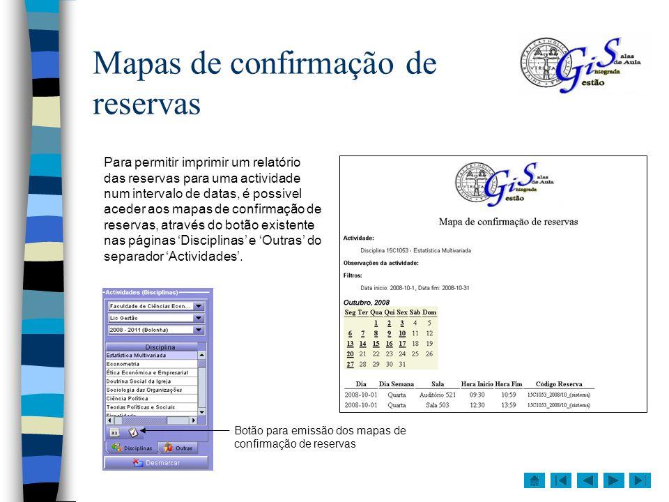 Mapas de confirmação de reservas