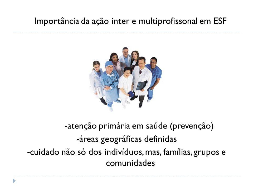 Importância da ação inter e multiprofissonal em ESF -atenção primária em saúde (prevenção) -áreas geográficas definidas -cuidado não só dos indivíduos, mas, famílias, grupos e comunidades