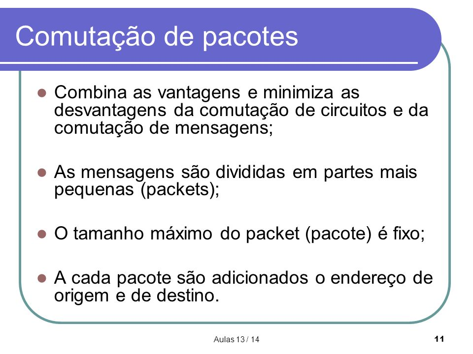 Comutação de pacotes Combina as vantagens e minimiza as desvantagens da comutação de circuitos e da comutação de mensagens;