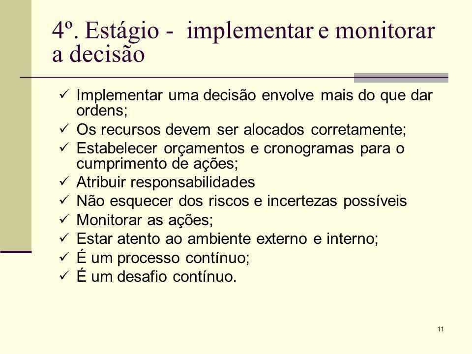 4º. Estágio - implementar e monitorar a decisão