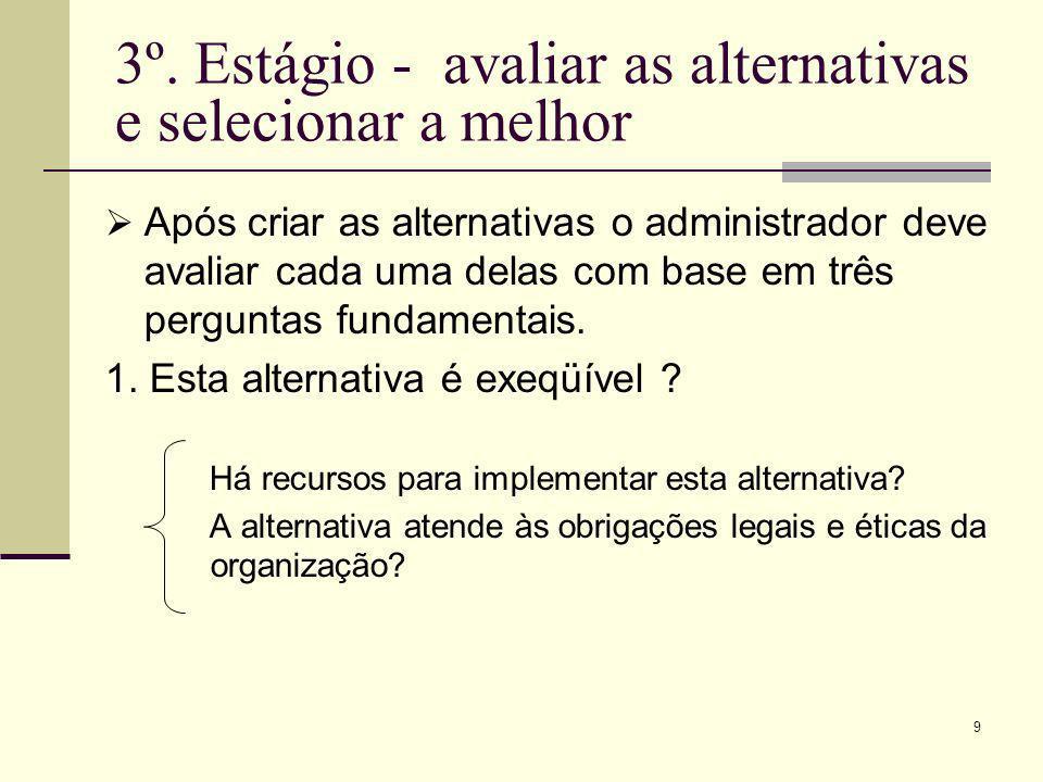 3º. Estágio - avaliar as alternativas e selecionar a melhor