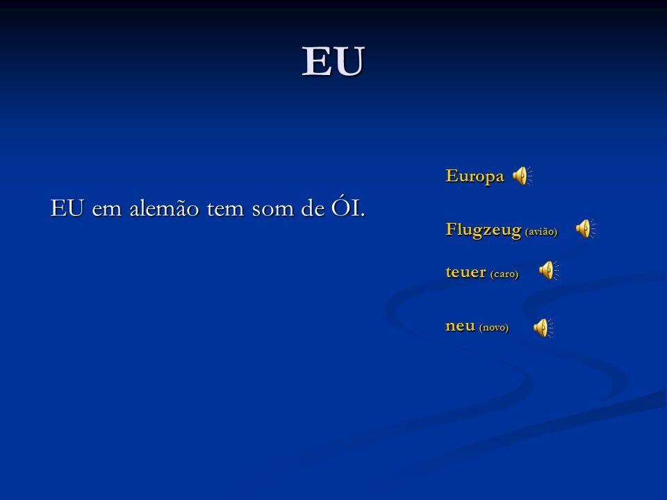 EU EU em alemão tem som de ÓI. Europa Flugzeug (avião) teuer (caro)