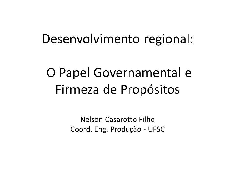 Desenvolvimento regional: O Papel Governamental e Firmeza de Propósitos Nelson Casarotto Filho Coord.