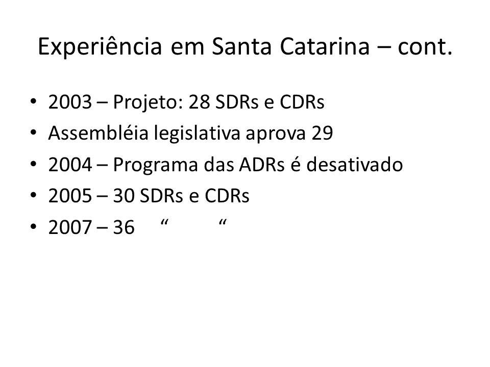 Experiência em Santa Catarina – cont.