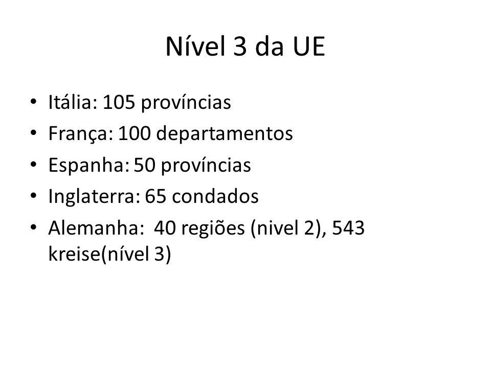 Nível 3 da UE Itália: 105 províncias França: 100 departamentos