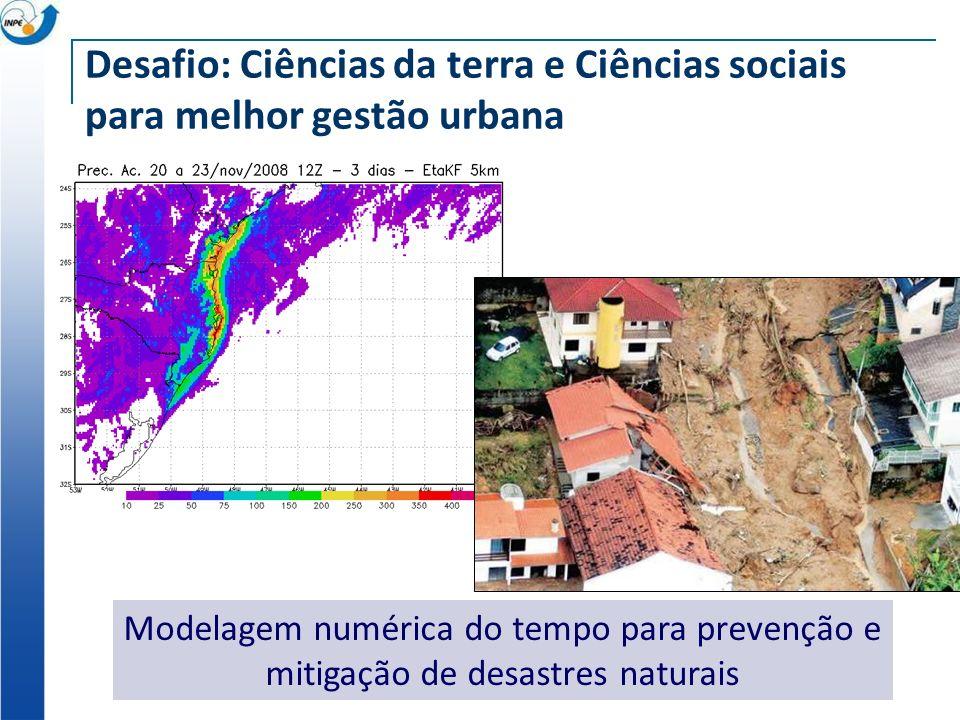 Desafio: Ciências da terra e Ciências sociais para melhor gestão urbana