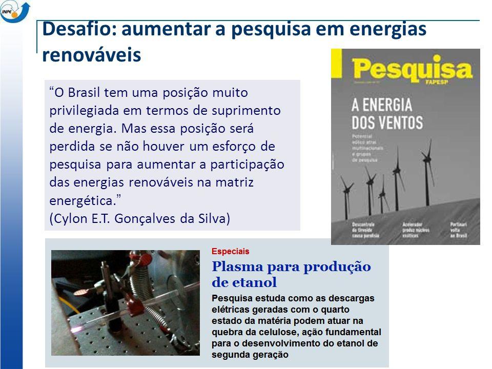 Desafio: aumentar a pesquisa em energias renováveis