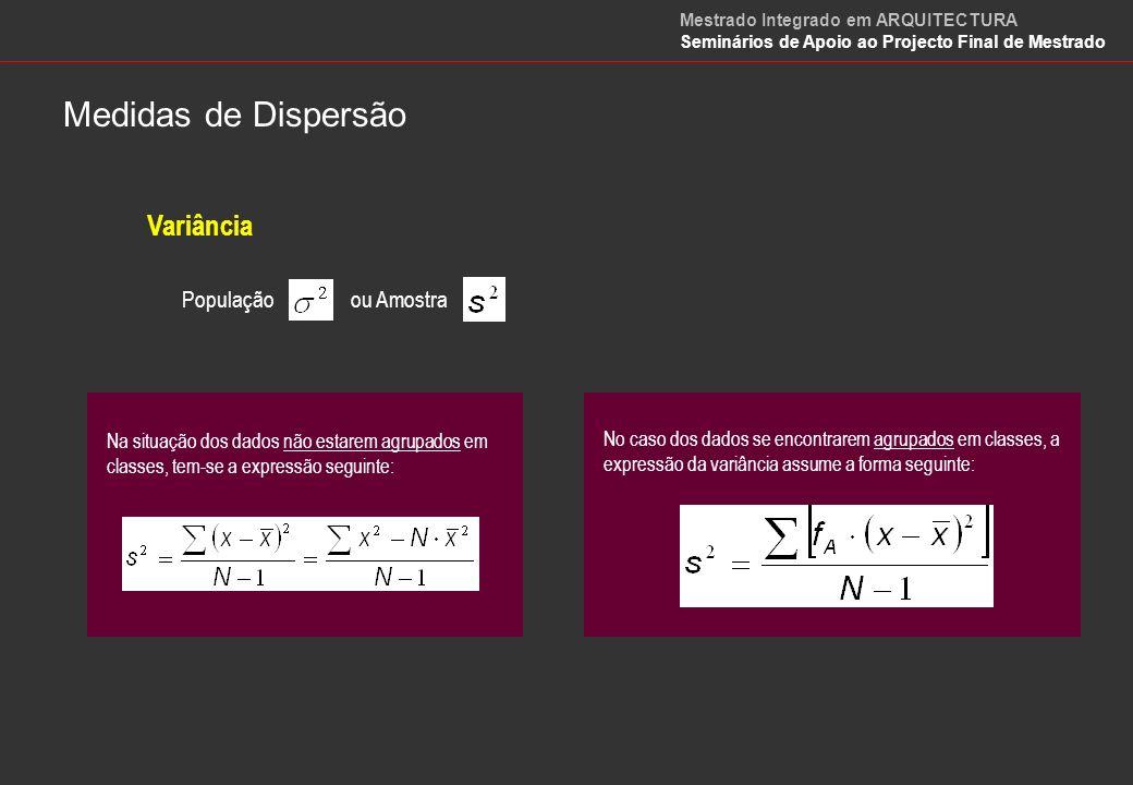 Medidas de Dispersão Variância População ou Amostra
