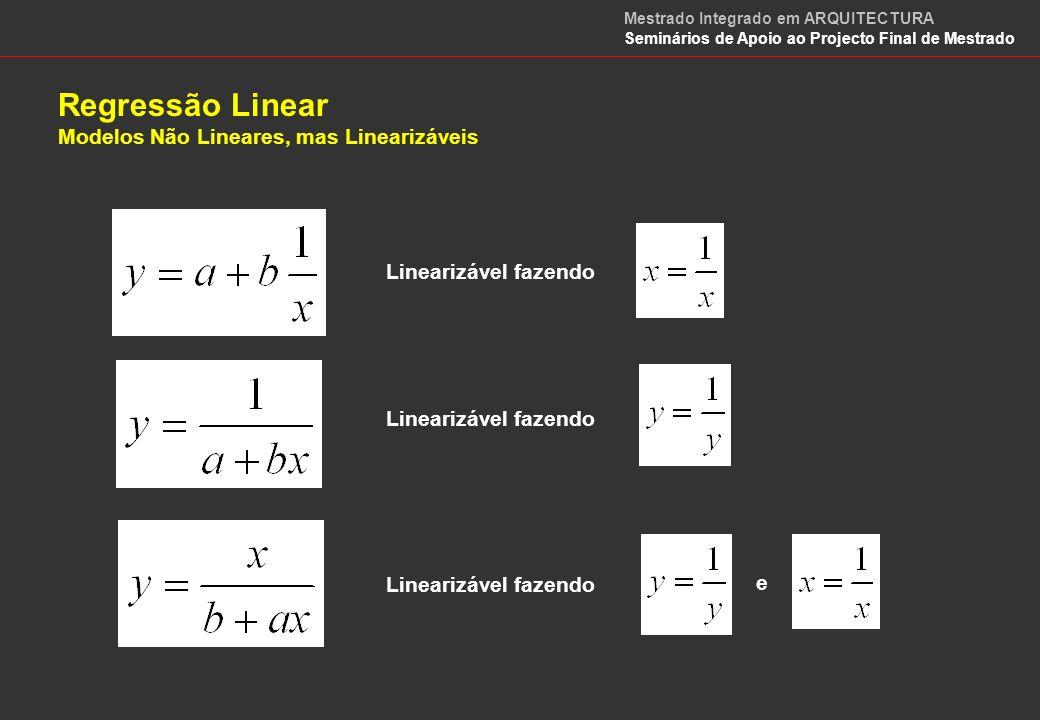 Regressão Linear Modelos Não Lineares, mas Linearizáveis