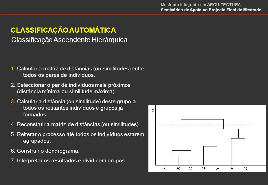 CLASSIFICAÇÃO AUTOMÁTICA Classificação Ascendente Hierárquica