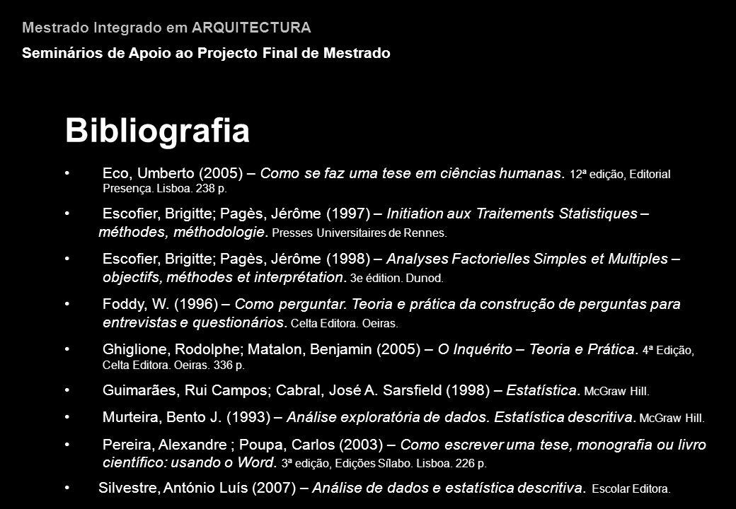 Bibliografia Mestrado Integrado em ARQUITECTURA