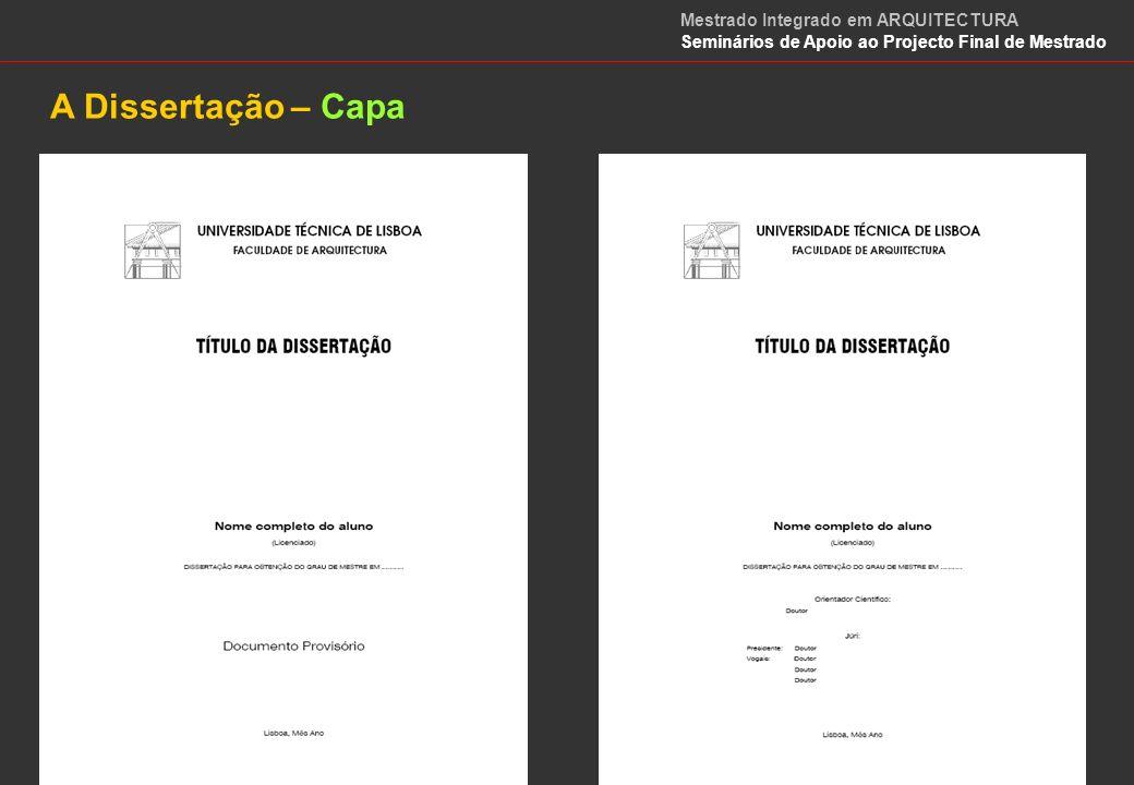 A Dissertação – Capa Mestrado Integrado em ARQUITECTURA