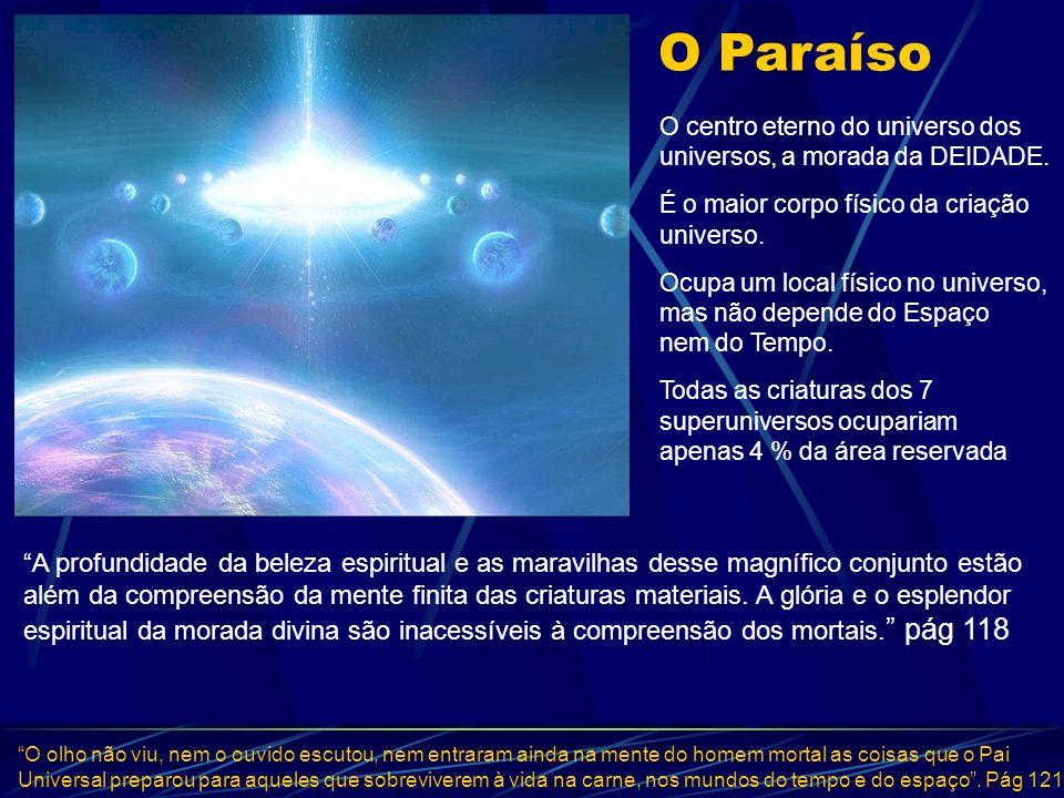 O Paraíso O Paraíso. O centro eterno do universo dos universos, a morada da DEIDADE. É o maior corpo físico da criação universo.