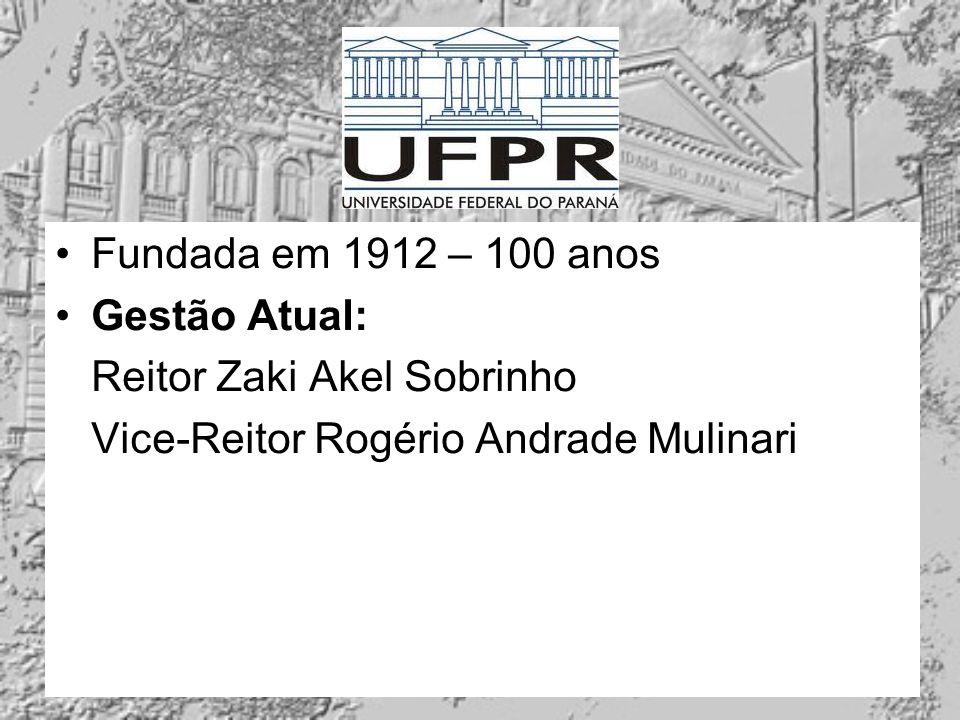 Fundada em 1912 – 100 anos Gestão Atual: Reitor Zaki Akel Sobrinho.