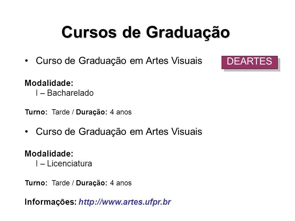Cursos de Graduação Curso de Graduação em Artes Visuais DEARTES