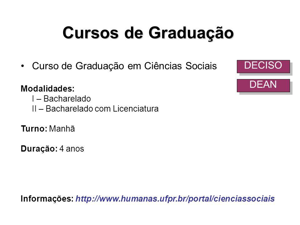 Cursos de Graduação Curso de Graduação em Ciências Sociais DECISO DEAN