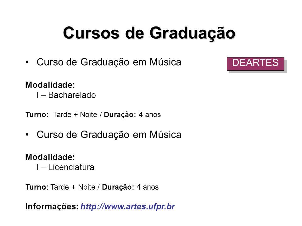 Cursos de Graduação Curso de Graduação em Música DEARTES Modalidade: