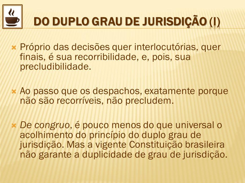 DO DUPLO GRAU DE JURISDIÇÃO (I)