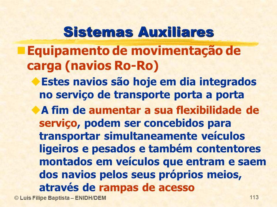 Sistemas Auxiliares Equipamento de movimentação de carga (navios Ro-Ro)