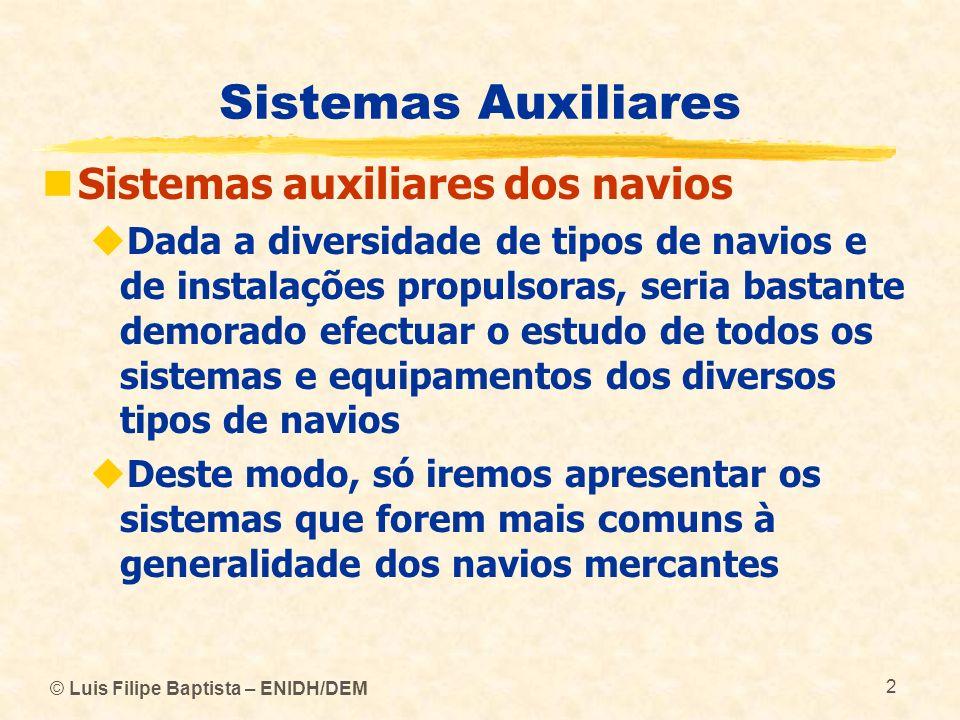 Sistemas Auxiliares Sistemas auxiliares dos navios