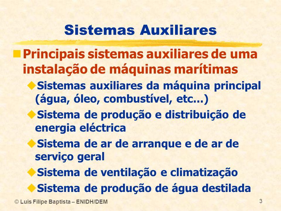 Sistemas Auxiliares Principais sistemas auxiliares de uma instalação de máquinas marítimas.