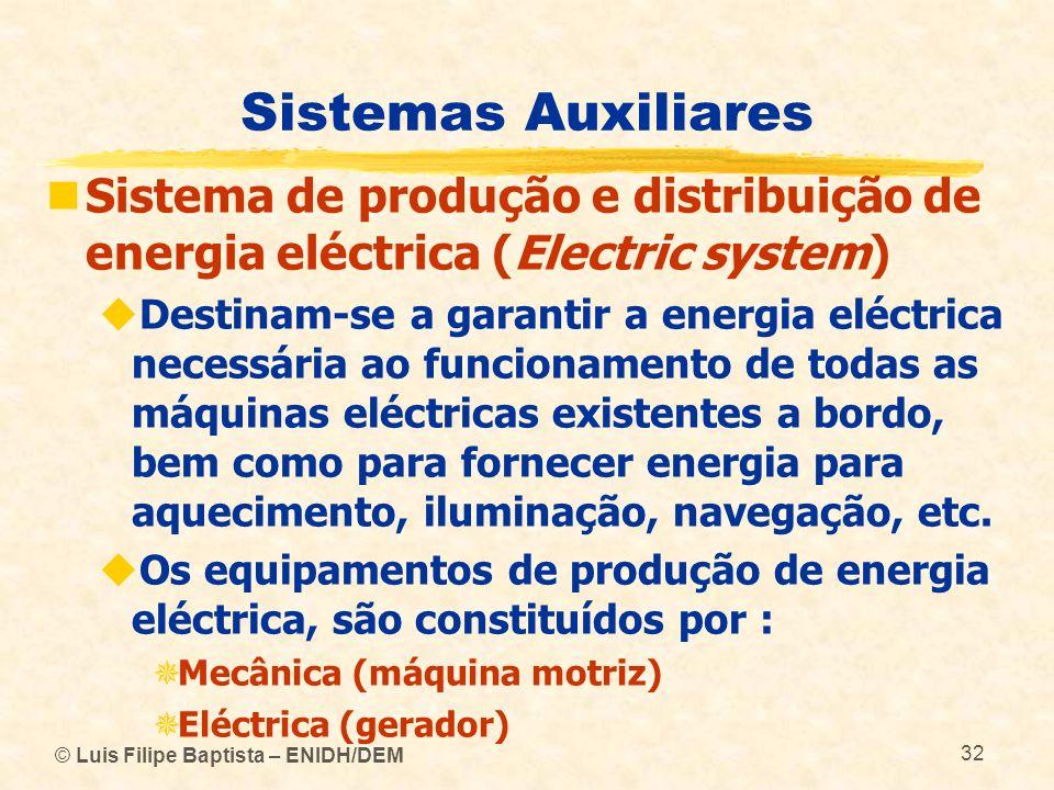 Sistemas Auxiliares Sistema de produção e distribuição de energia eléctrica (Electric system)