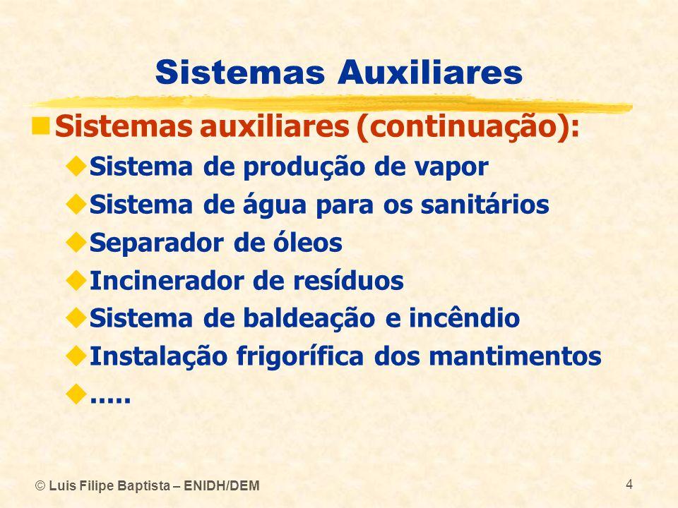 Sistemas Auxiliares Sistemas auxiliares (continuação):