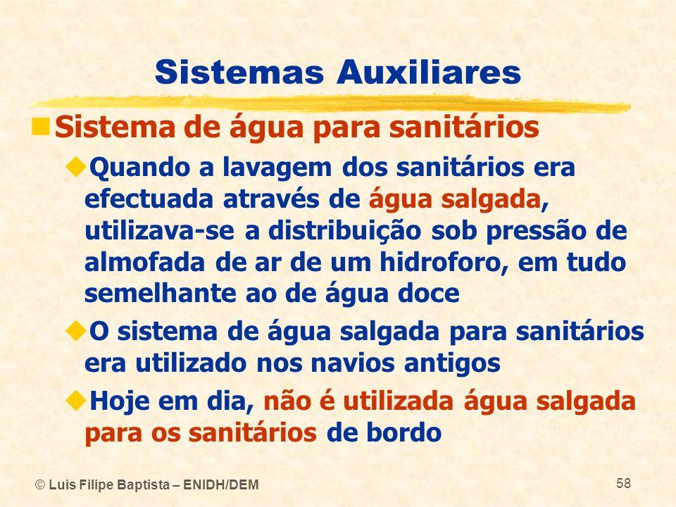 Sistemas Auxiliares Sistema de água para sanitários