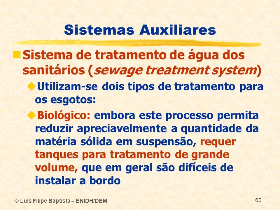 Sistemas Auxiliares Sistema de tratamento de água dos sanitários (sewage treatment system) Utilizam‑se dois tipos de tratamento para os esgotos: