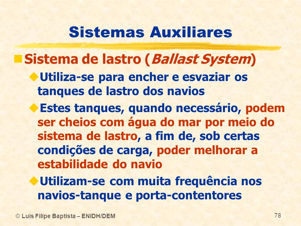 Sistemas Auxiliares Sistema de lastro (Ballast System)