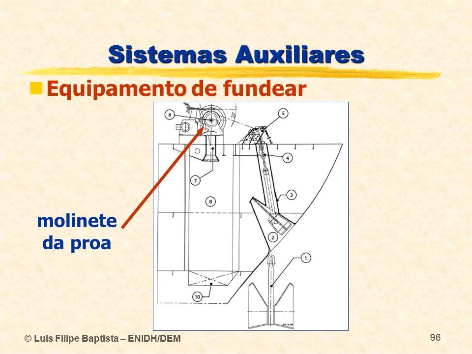 Sistemas Auxiliares Equipamento de fundear molinete da proa