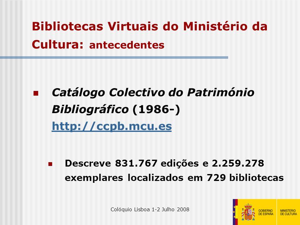 Bibliotecas Virtuais do Ministério da Cultura: antecedentes
