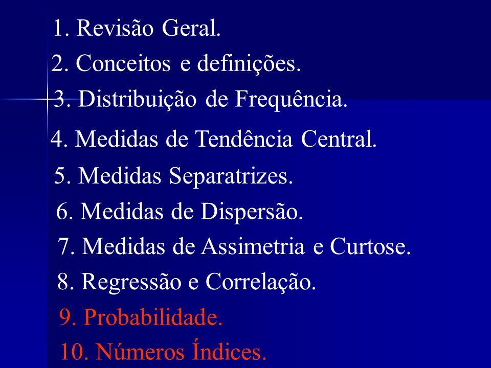 1. Revisão Geral. 2. Conceitos e definições. 3. Distribuição de Frequência. 4. Medidas de Tendência Central.