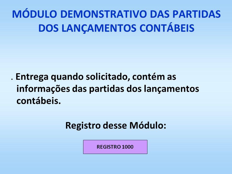 MÓDULO DEMONSTRATIVO DAS PARTIDAS DOS LANÇAMENTOS CONTÁBEIS