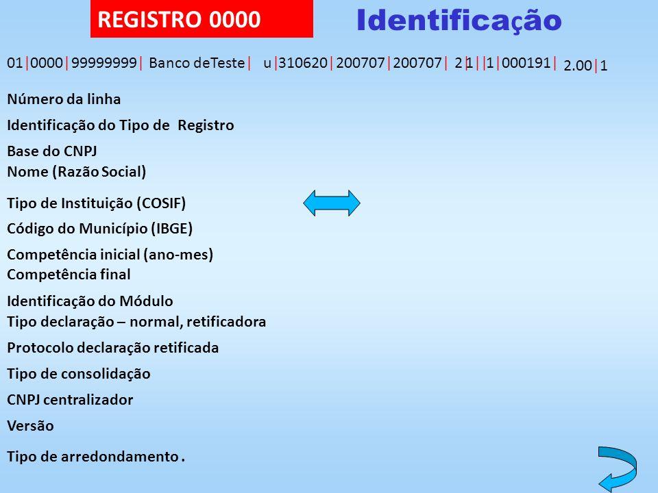 Identificação REGISTRO 0000 01| 0000| 99999999| Banco deTeste| u|