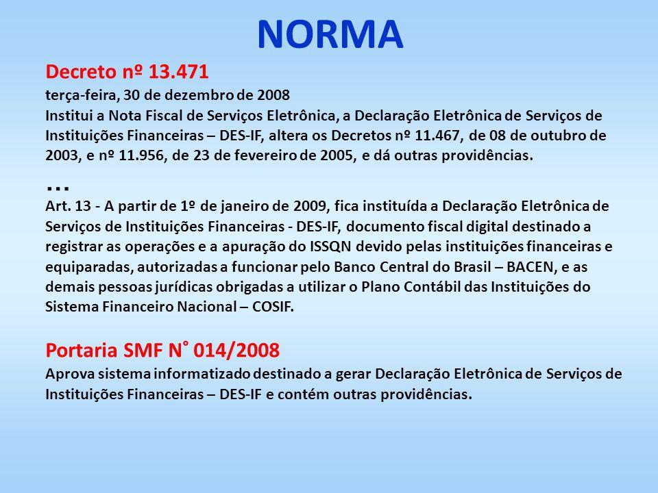 NORMA … Decreto nº 13.471 Portaria SMF N° 014/2008
