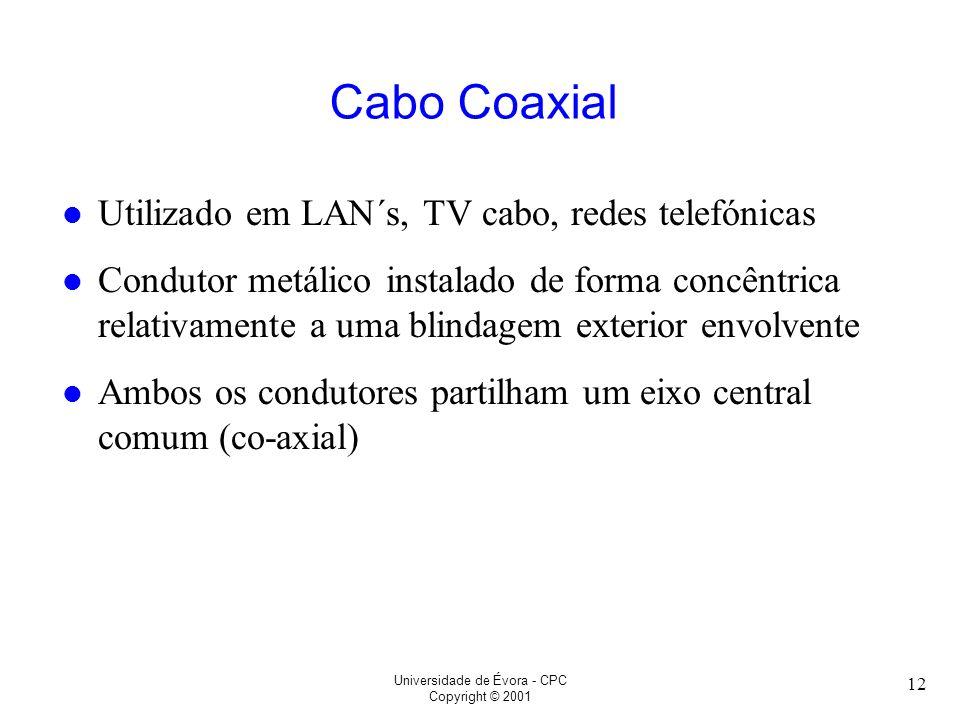 Cabo Coaxial Utilizado em LAN´s, TV cabo, redes telefónicas