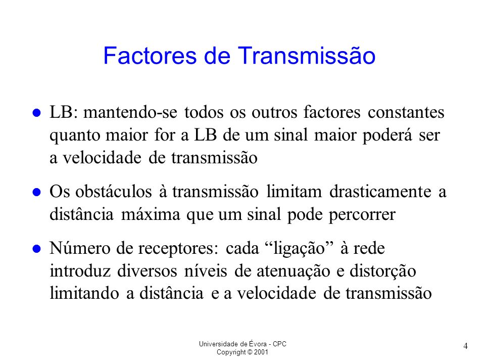 Factores de Transmissão