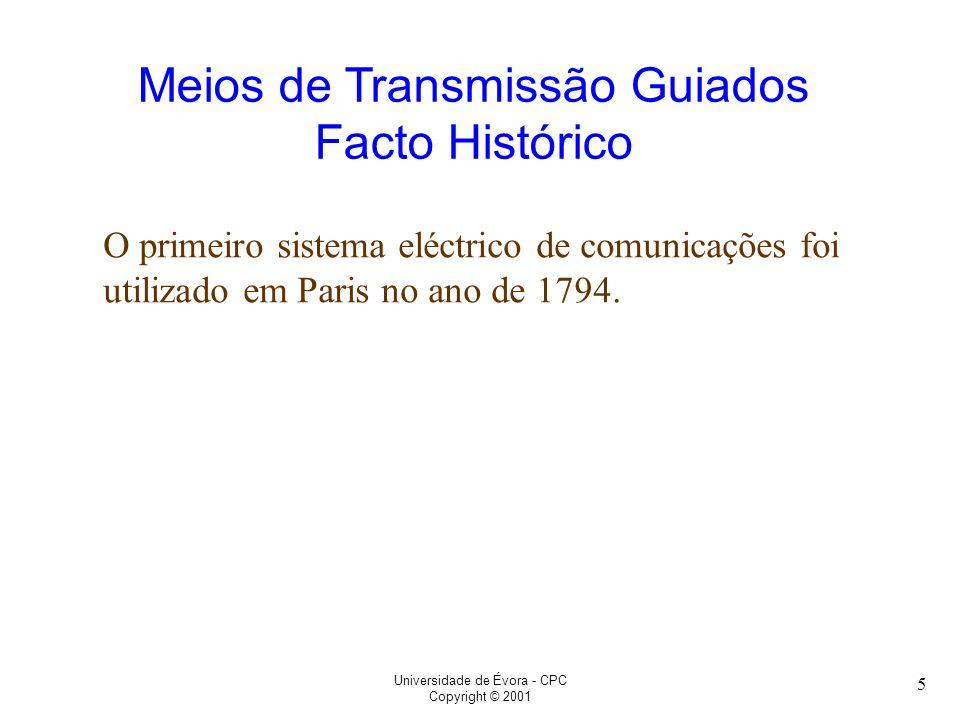 Meios de Transmissão Guiados Facto Histórico