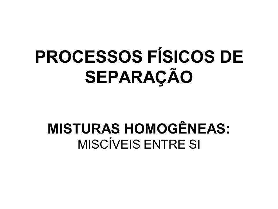 PROCESSOS FÍSICOS DE SEPARAÇÃO