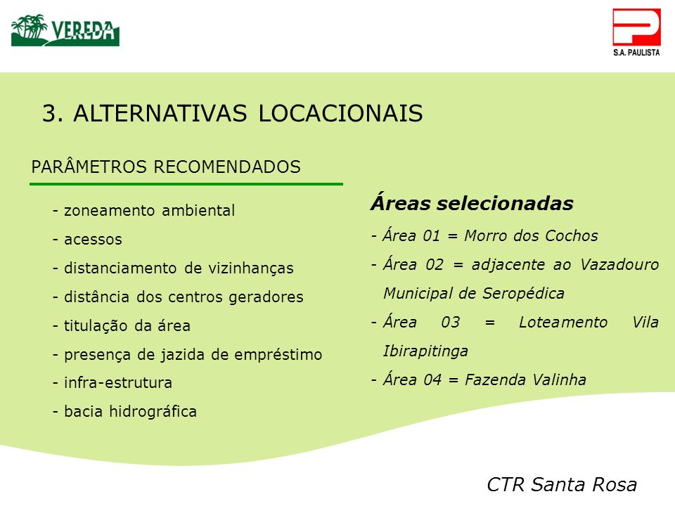 3. ALTERNATIVAS LOCACIONAIS
