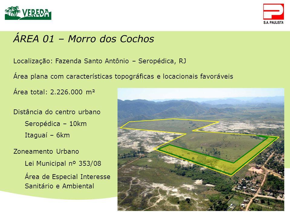 ÁREA 01 – Morro dos Cochos Localização: Fazenda Santo Antônio – Seropédica, RJ. Área plana com características topográficas e locacionais favoráveis.