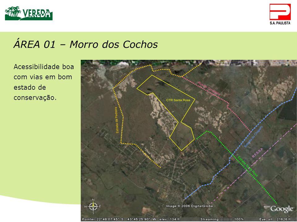 ÁREA 01 – Morro dos Cochos Acessibilidade boa com vias em bom estado de conservação.