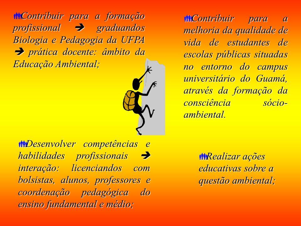 Contribuir para a formação profissional  graduandos Biologia e Pedagogia da UFPA  prática docente: âmbito da Educação Ambiental;