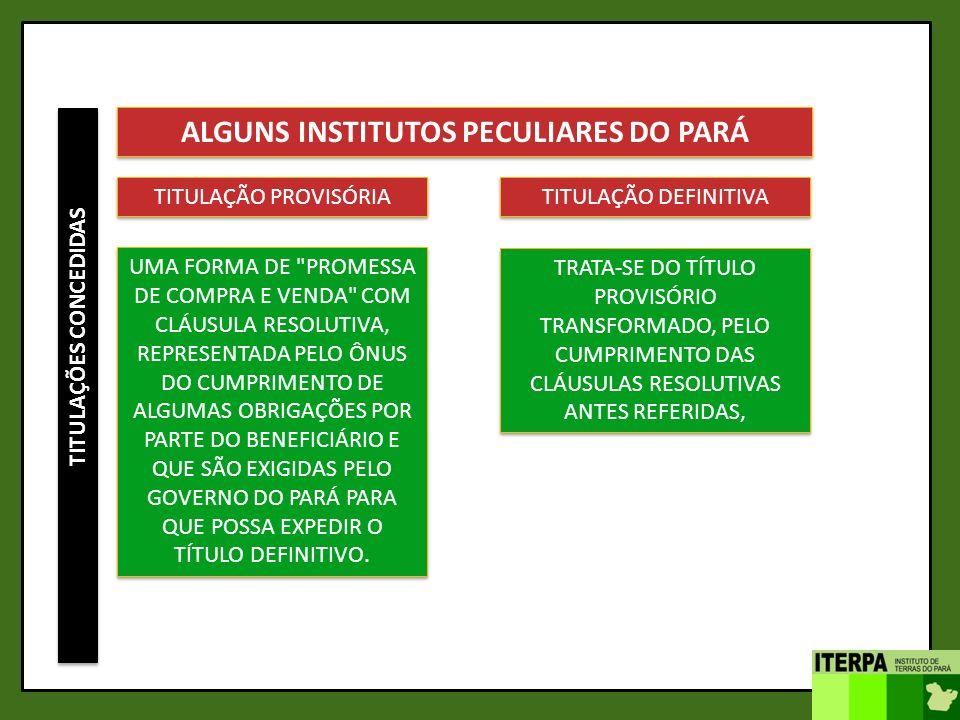 ALGUNS INSTITUTOS PECULIARES DO PARÁ TITULAÇÕES CONCEDIDAS