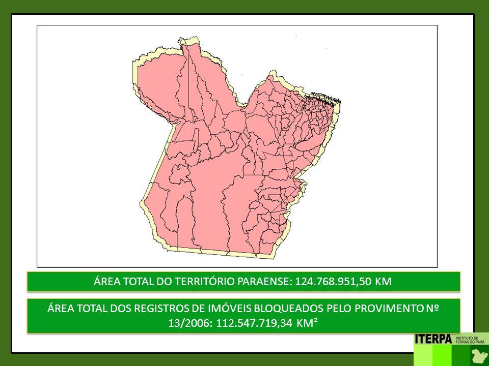 ÁREA TOTAL DO TERRITÓRIO PARAENSE: 124.768.951,50 KM