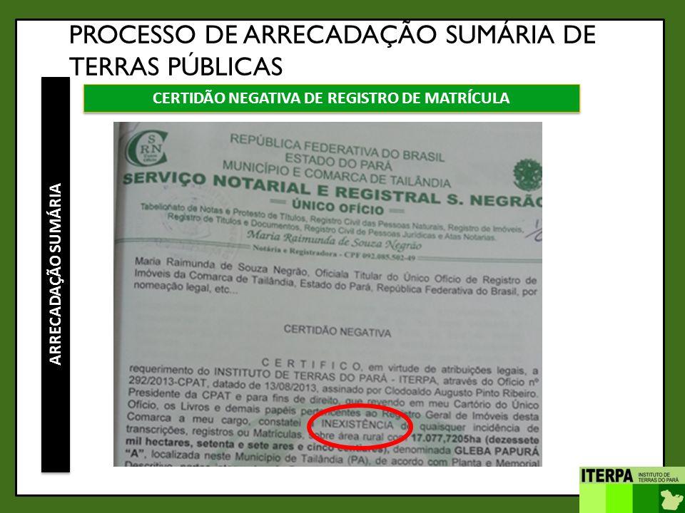 CERTIDÃO NEGATIVA DE REGISTRO DE MATRÍCULA
