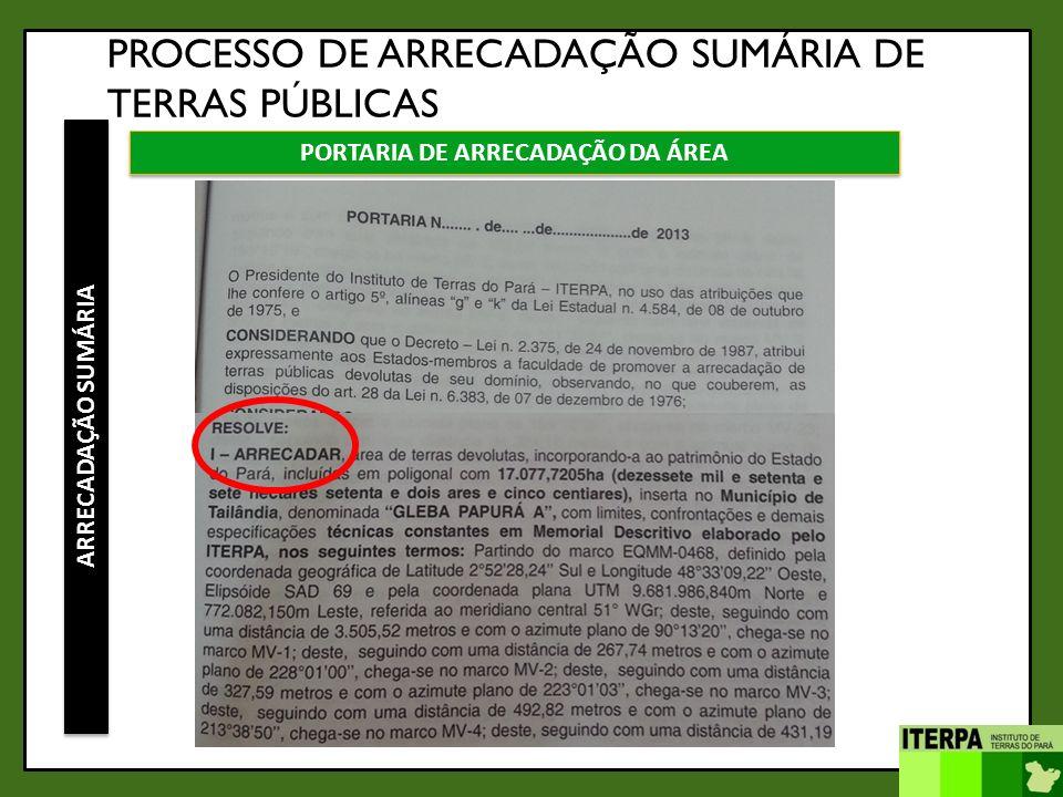 PORTARIA DE ARRECADAÇÃO DA ÁREA